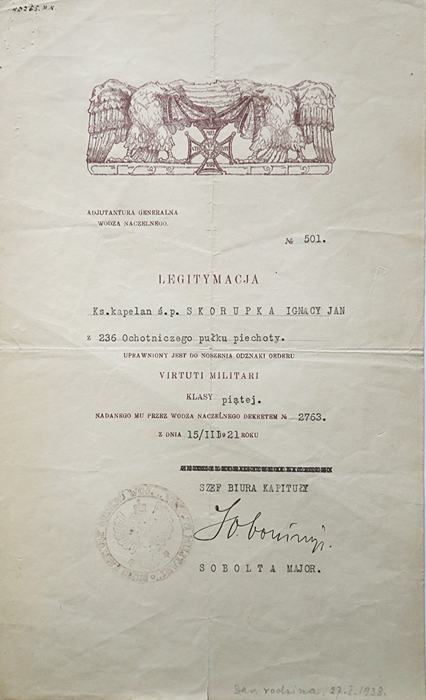 dokument legitymacja nadania orderu Virtuti Militari