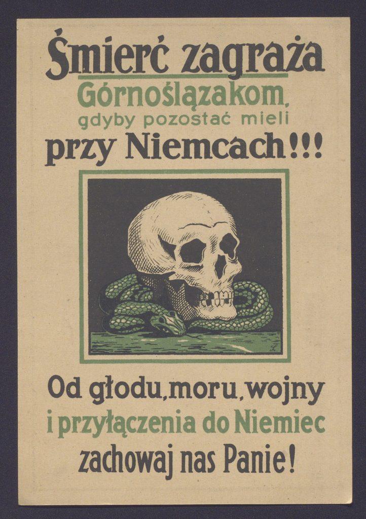 ulotka z rysunkiem czaszki zaczynająca się od słów śmierć zagraża górnoślązakom przy niemcach