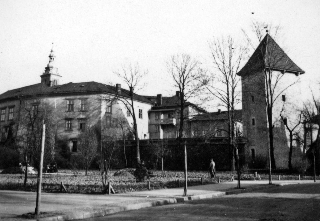 widok na zamek żupny w wieliczce, na pierwszym planie park
