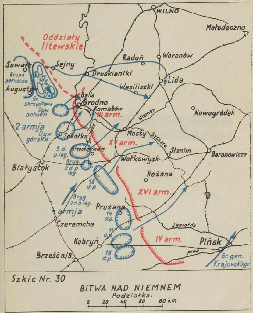 mapa okolic Grodna z zaznaczonymi miejscowościami - na czerwono bolszewiy, na niebiesko wojska polskie