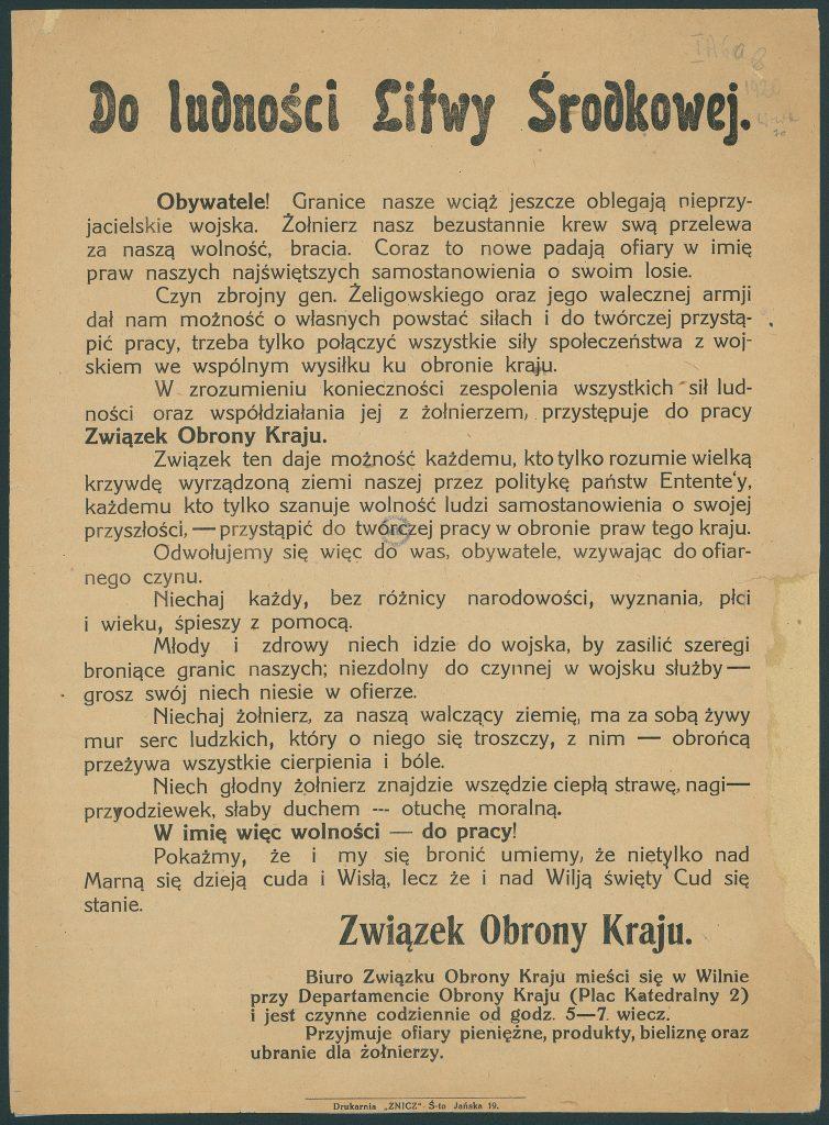 tekst odezwy wydrukowany, zaczynający się od słów Do ludności Litwy Środkowej