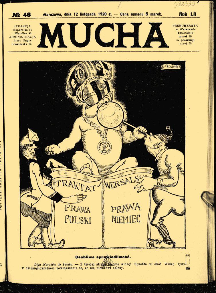 pierwsza strona czasopisma z satyryczną grafiką