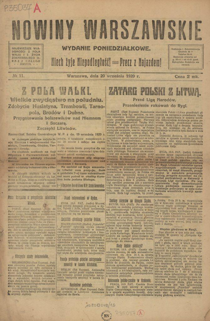 pierwsza strona gazety