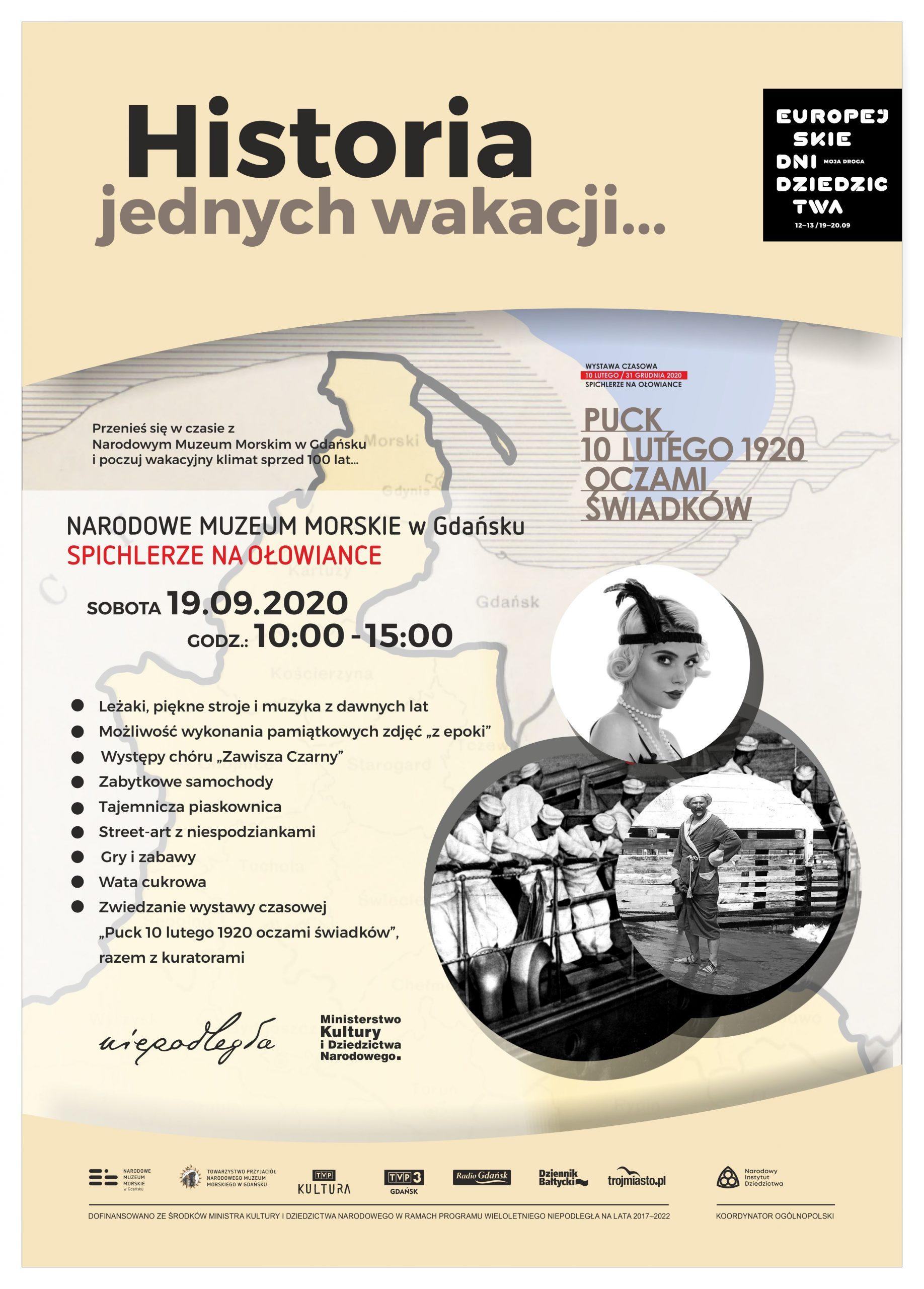Plakat tekstowy z archiwalnymi zdjęciami marynarzy i plażowicza.