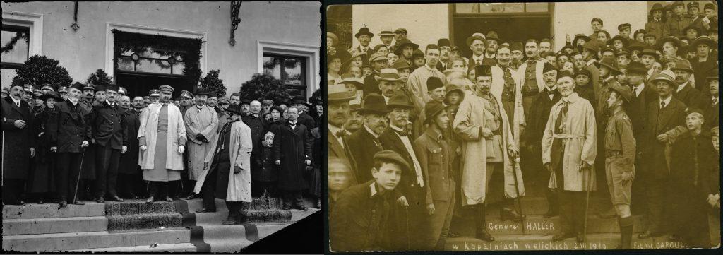 po lewej fotografia józefa Piłsudskiego na schodach przed wejściem do budynku, dookoła ludzie. Po prawej analogiczna fotografia, ale tym razem w centrum jest Haller