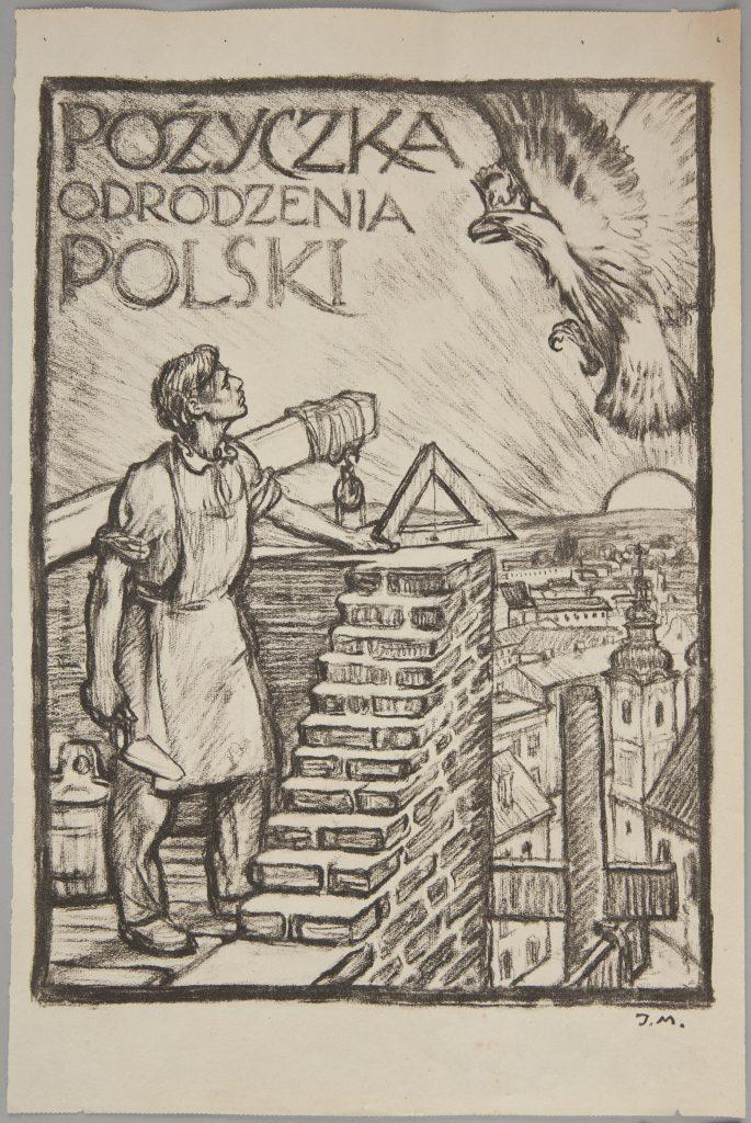 litografia z budowlańcem wznoszącym mur wpatrującym się w orła, w lewym rogu napis pożyczka odrodzenia polski