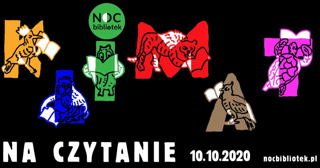 Noc Bibliotek 2020 - baner z datą i kolorowymi literkami K L I M A T