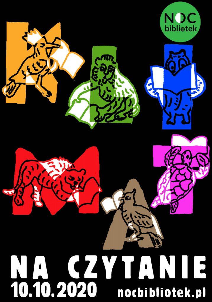 Noc Bibliotek 2020 - plakatz datą i kolorowymi literkami K L I M A T
