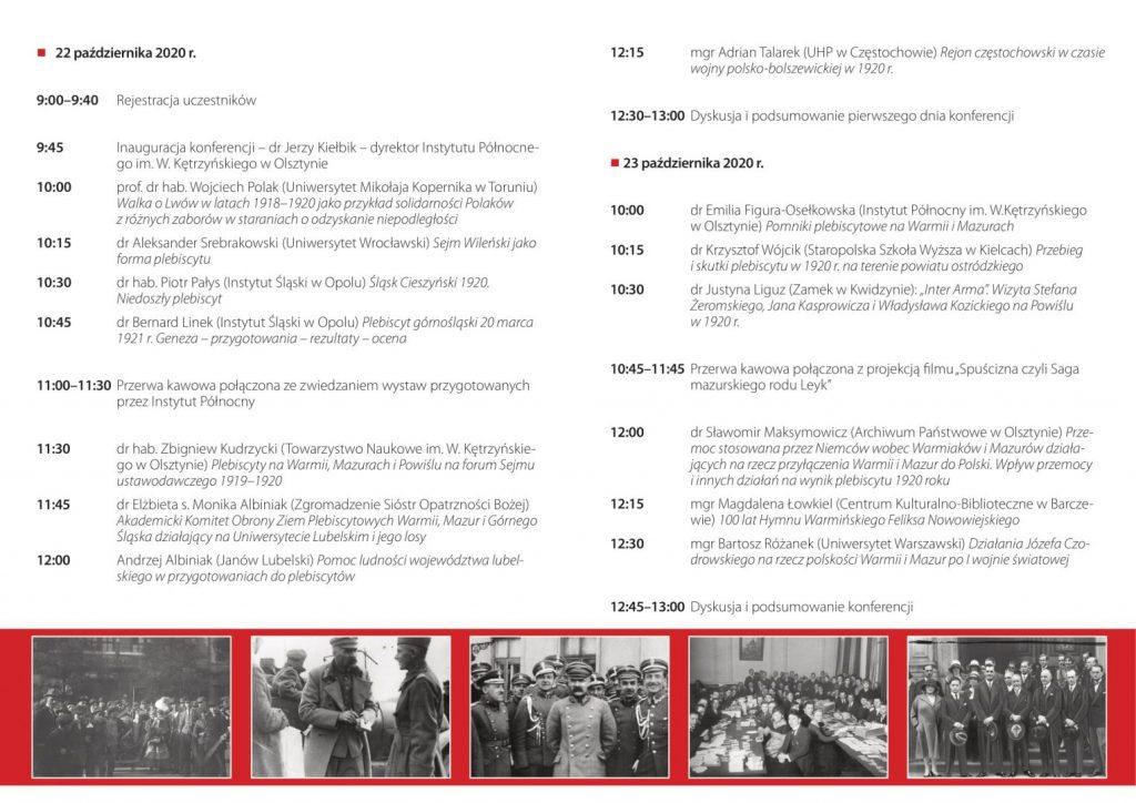 program konferencji naukowej z rozpisanymi referatami i ich autorami, na dole pasek ze starymi zdjęciami