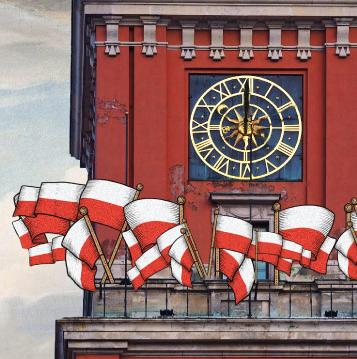 rysunek wieży z flagami