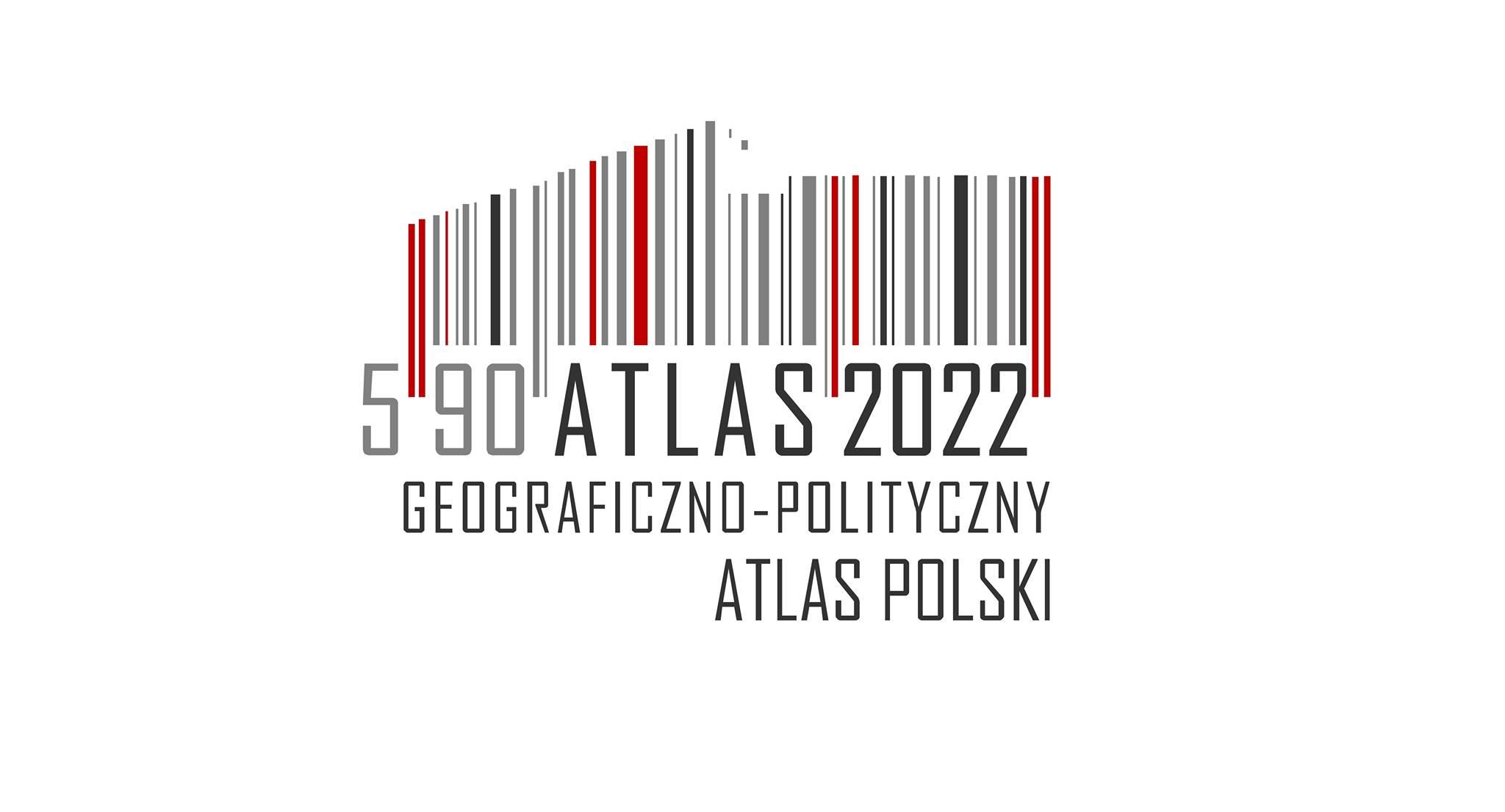 logo z kodu kreskowego w kształcie północnej połowy Polski i nazwą Geograficzno-Polityczny Atlas Polski