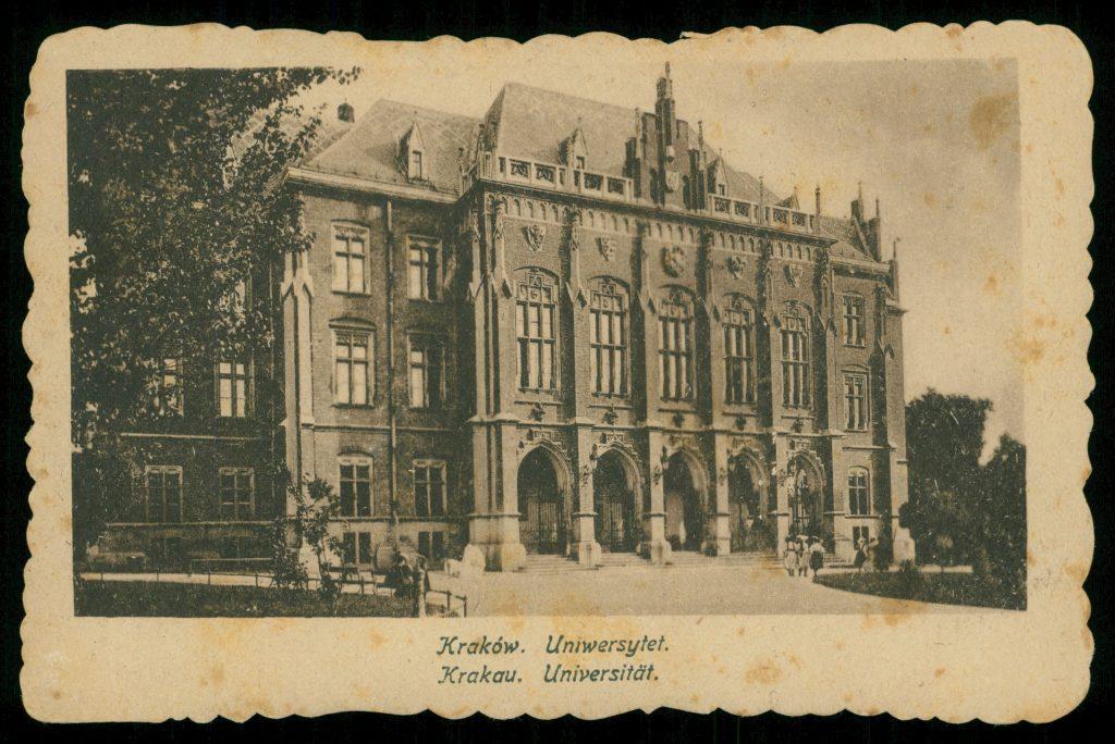 budynek uniwersytetu na pocztówce