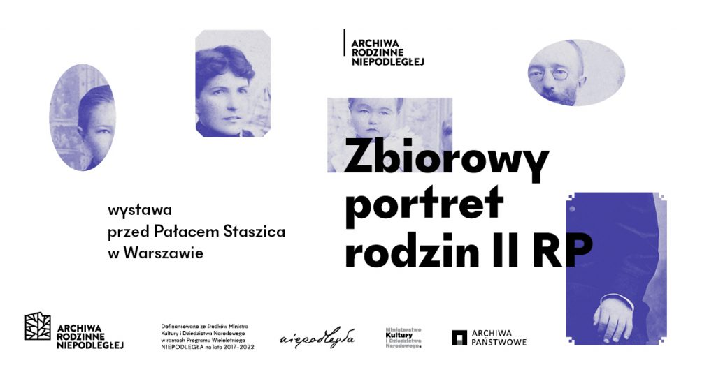 baner z tytułem wystawy, logami i starymi zdjęciami