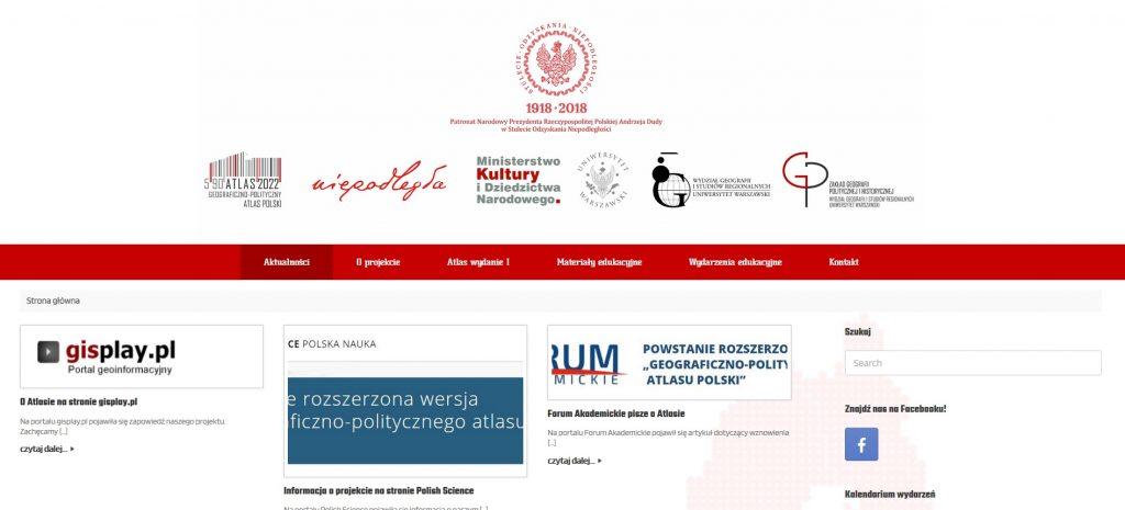 screen ze strony internetowej z belką logo, belką menu i najnowszymi aktualnościami