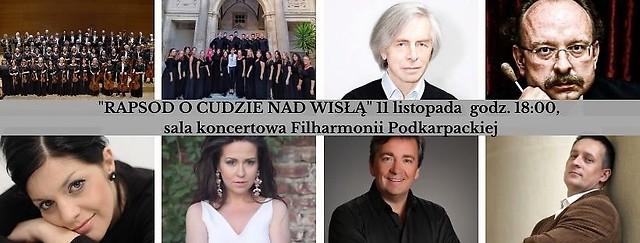 główki wykonawców i kompozytora na 8 sdjęciach połączonych w kolaż, na środku pasek z nazwą i datą koncertu