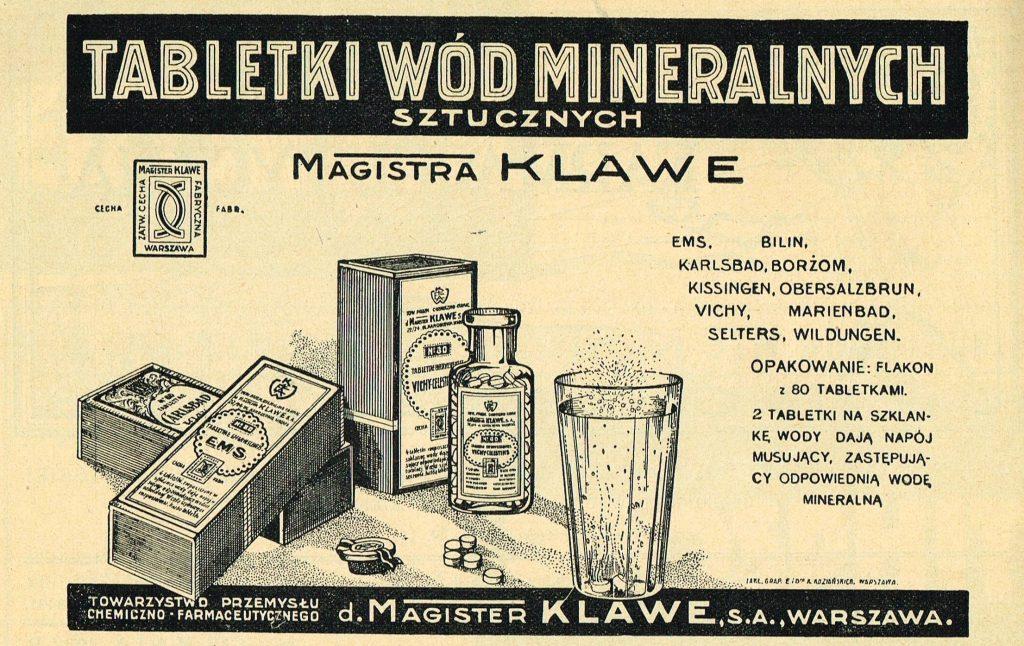 reklama drukowana tabletek wód mineralnych z graficznym przedstawieniem preparatu i krótkim opisem