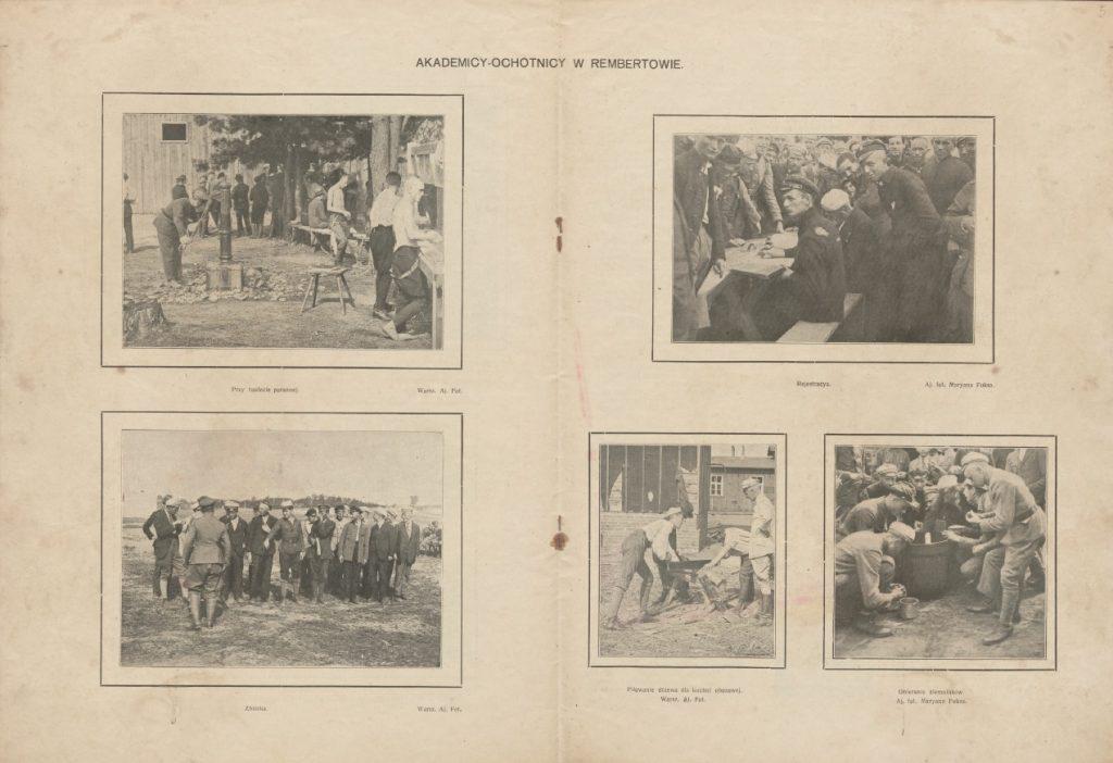 dwie striny z gazety z 5 fotografiami z ćwiczeń rekrutów