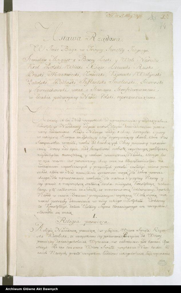 pierwsza strona konstytucji zapisana odręcznie
