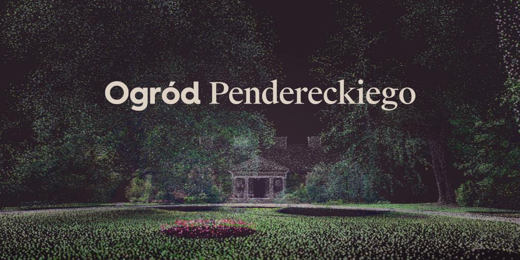 """banner przedstawiający ogród, z napisem """"Ogród Pendereckiego"""""""