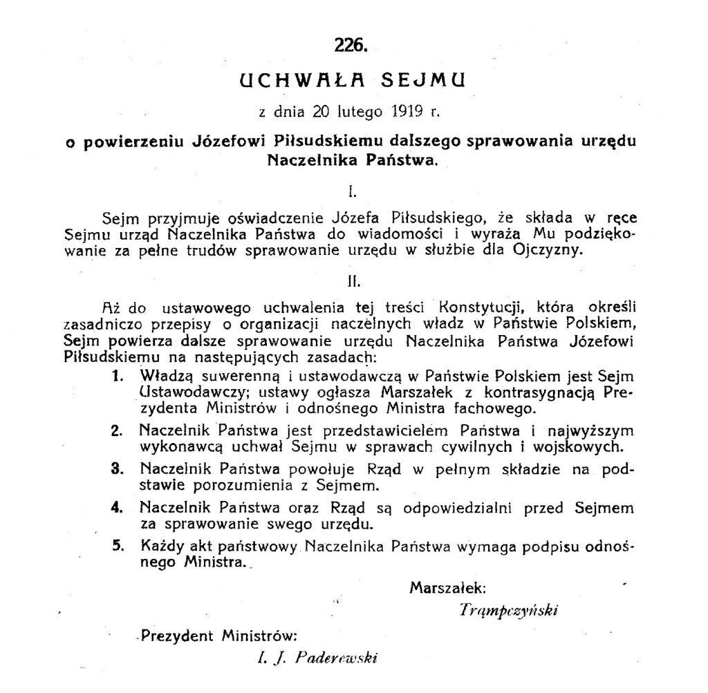 pierwsza strona aktu prawnego wypełniona tekstem