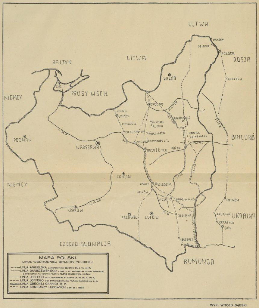 mapa II rp z zaznaczonymi różnymi liniami rozważanymi wariantami granicy wschodniej