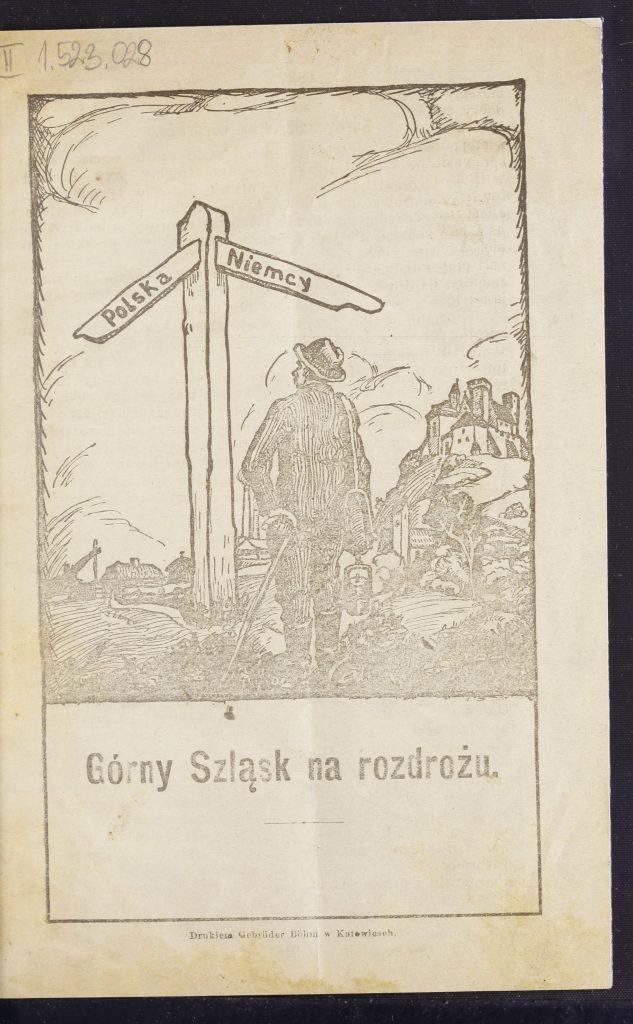 okładka książki z grafiką przedstawiającą mężczyznę przed drogowskazem, który na dwóch ramionach ma zaznaczone kierunki Polska i Niemcy