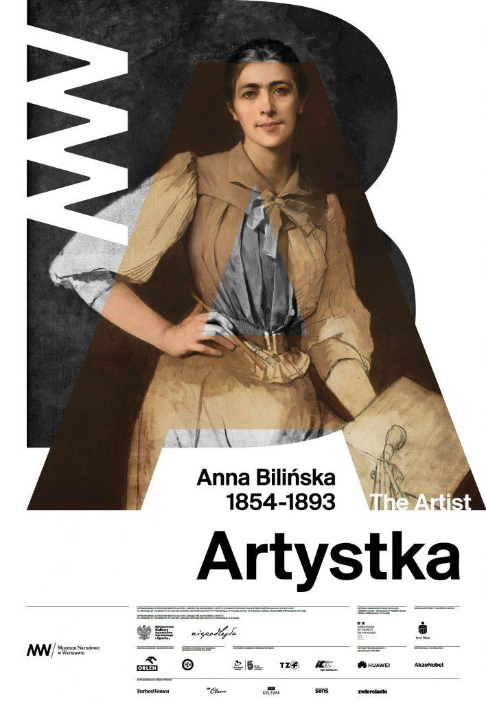 plakat z portretem artystki, tytułem i logami partnerów i patronów