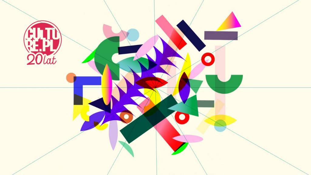grafika złożona z kolorowych kształtów
