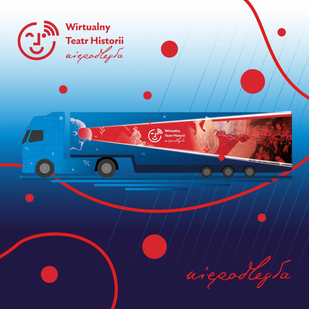 autobus ciężarowy z naczepą pomalowany w grafiki charakterystyczne dla wirtualnego teatru historii, logiem projektu i logiem niepodległa