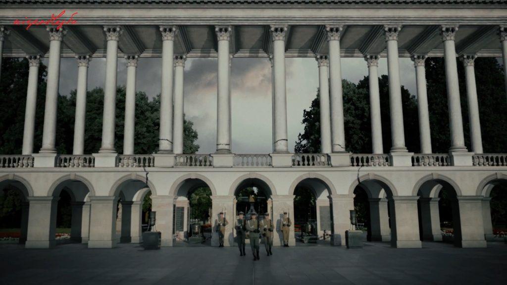 klatka ze spotu z wizualizacją kolumnady z grobem nieznanego żołnierza