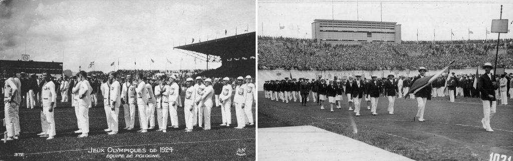 zestawione dwa zdjęcia, na obu grupa ludzi ubranych w stroje polskiej reprezentacji olimpijskiej na stadionie - po lewej zdjęcie z 1924, po prawej modele z 1928 roku
