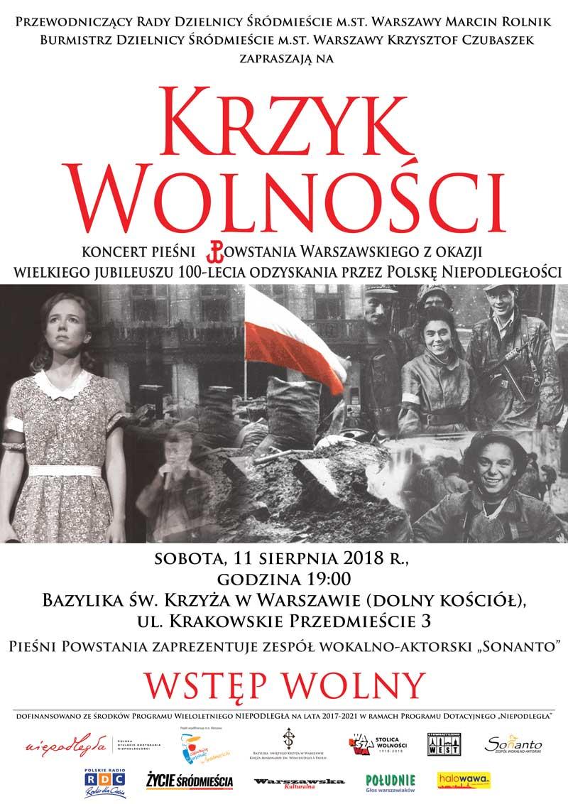 Zaproszenie na koncert pieśni Powstania Warszawskiego