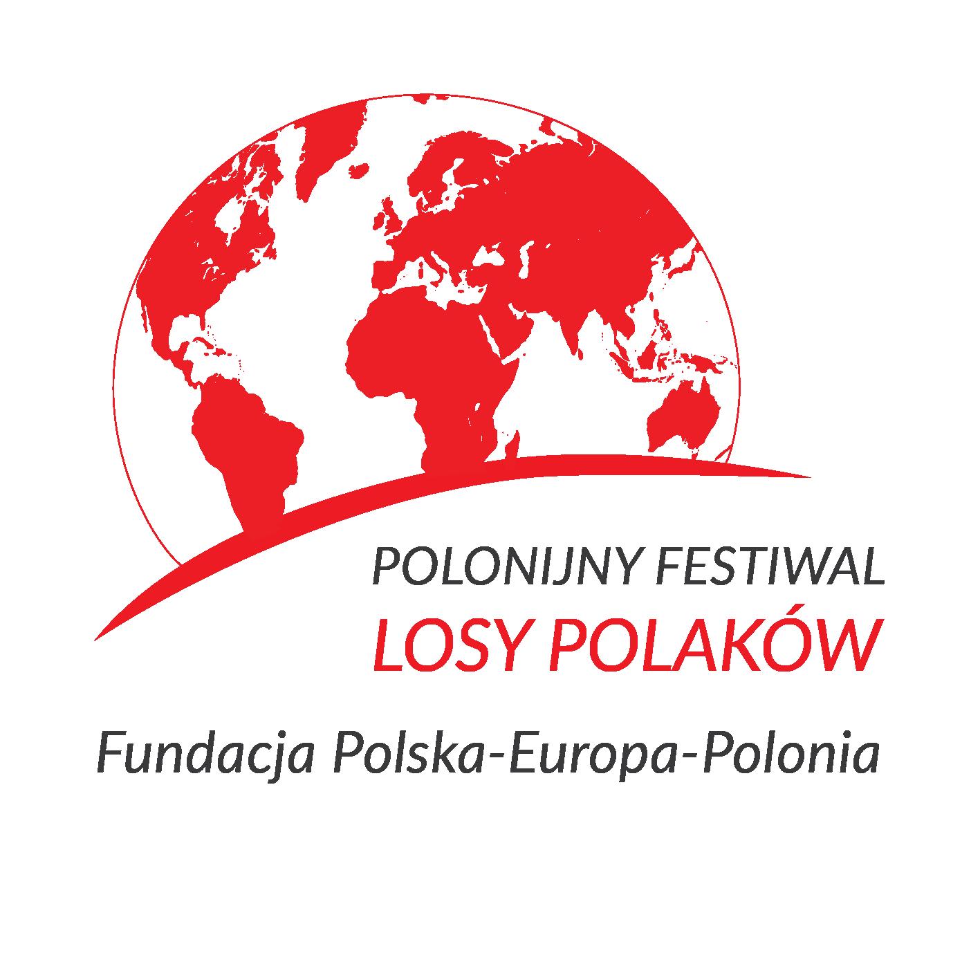 Logo Festiwalu Polonijnego Losy Polakow z bialo-czerwonym rysunkiem kuli ziemskiej i napisaem Festiwal Losy Polakow Fundacja Polska-Europa-PoloniAa i napisem