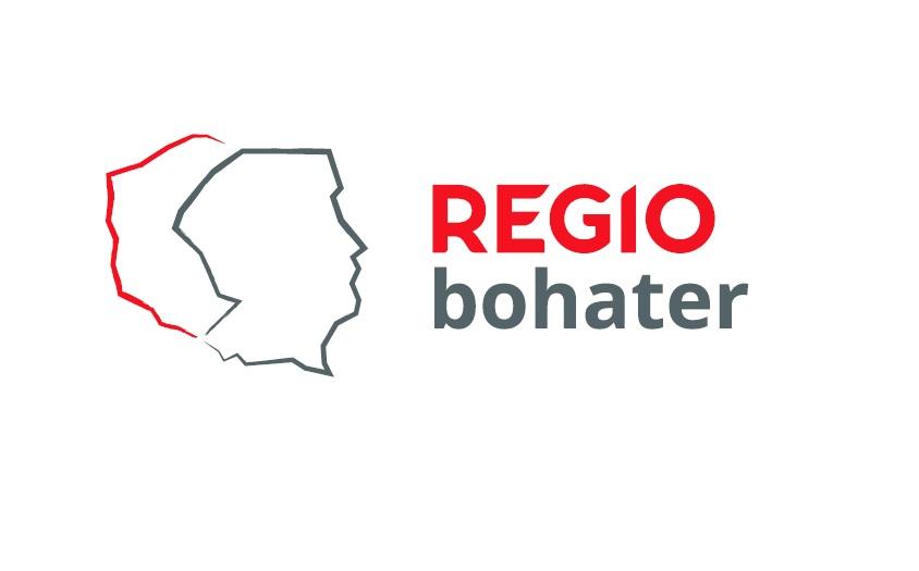 Logo kampanii REGIObohater to kontury granic Polski, z czego połowę obszaru stanowi kontur twarzy wpisujący się we wschodnią granicę Polski.