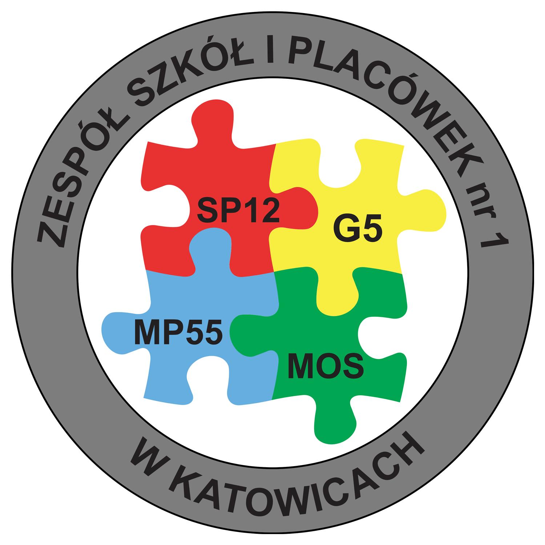 Logo Zespołu Szkół i Placówek nr 1 tworzą cztery puzzle w z nazwami placówek współtworzących zespół, tzn.- przedszkole (niebieski puzzel), szkoła podstawowa (czerwony puzzel), oddziały gimnazjum(żółty puzzel) i Międzyszkolny Ośrodek Sportowy (zielony puzzel); puzzle są wpisane w koło, które na obrzeżach w ramce ma napis: