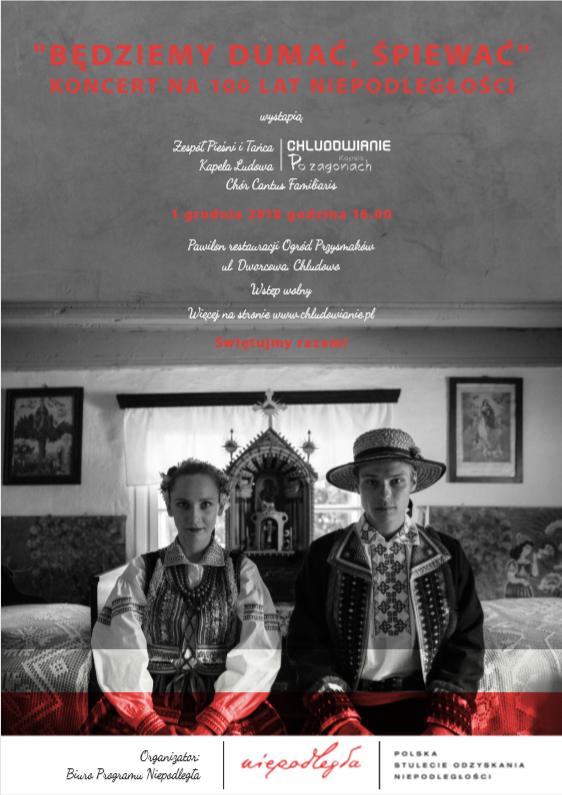 Plakat promujący koncert w wykonaniu Zespołu Pieśni i Tańca Chludowianie