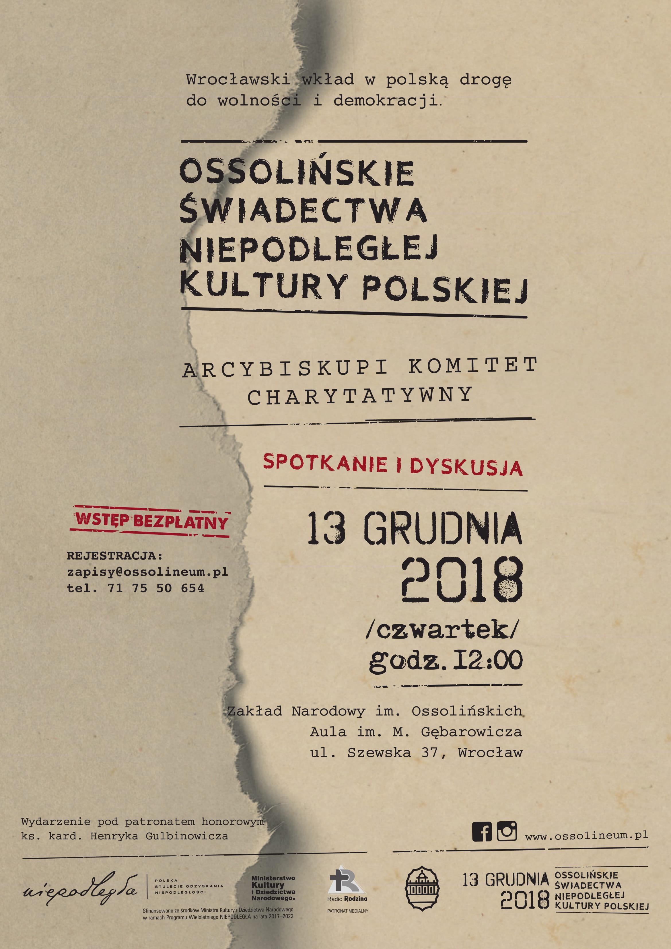Plakat wydarzenia z nazwą wydarzenia i datą 13 grudnia 2018