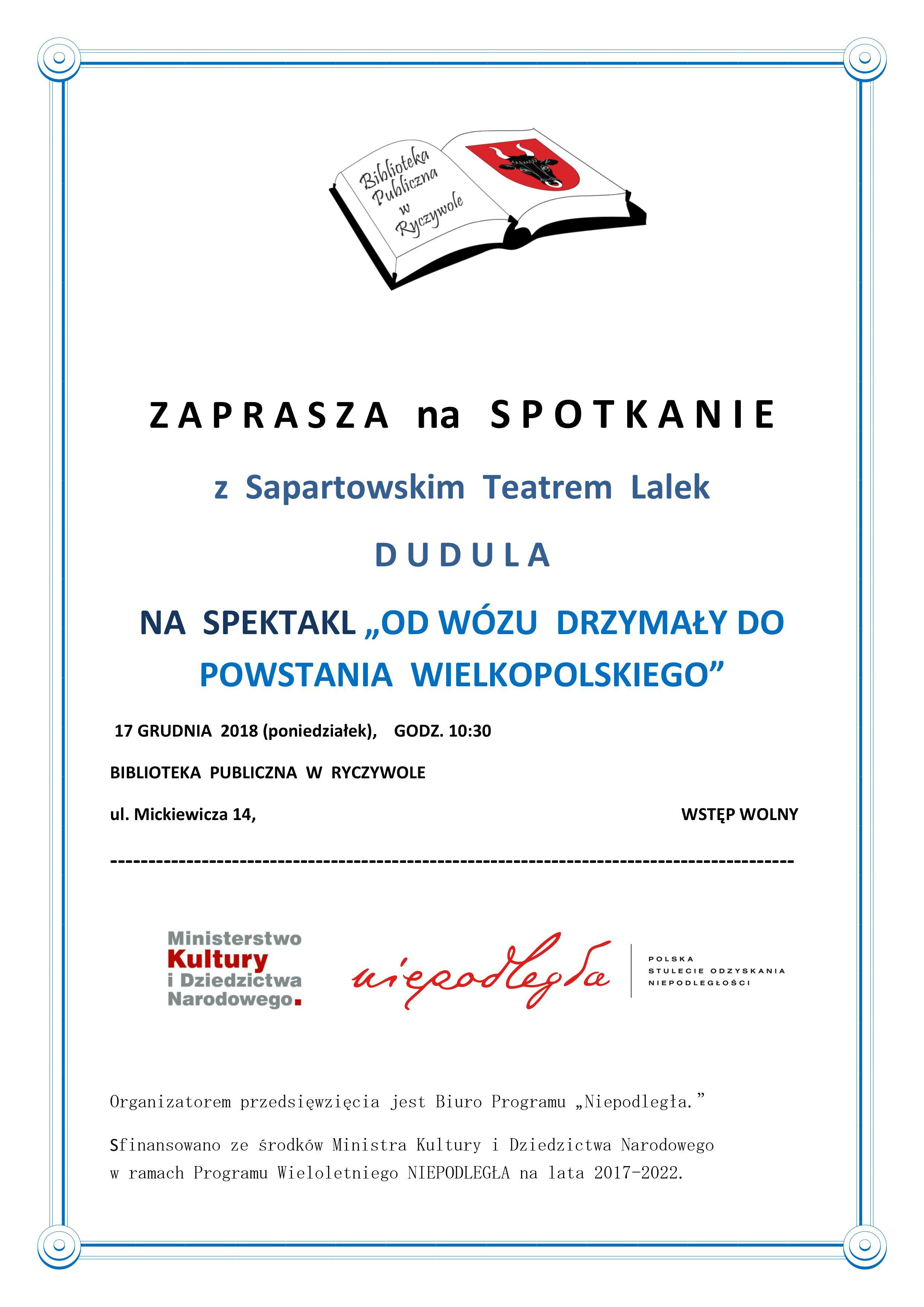 Logo biblioteki Biblioteki Publicznej w Ryczywole zapraszając na spotkanie z Sapartowskim Teatrem Lalek DUDULA na spektakl :