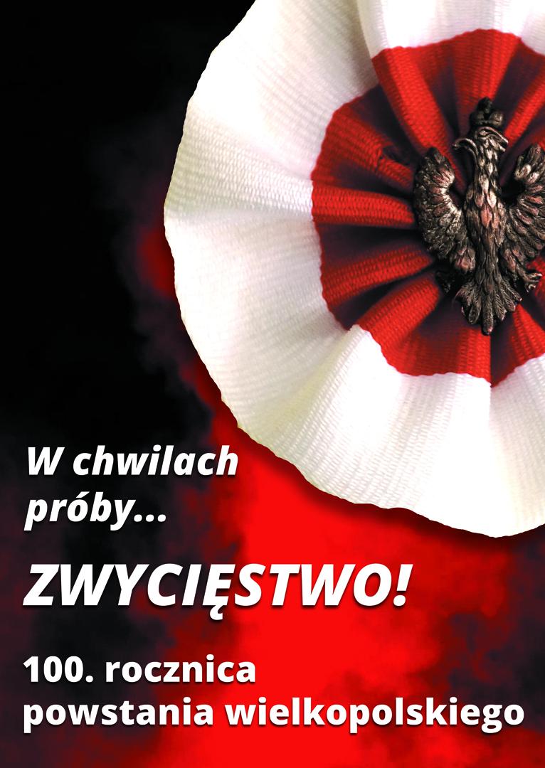 Grafika promująca obchody 100. rocznicy powstania wielkopolskiego organizowane przez Wielkopolskie Muzeum Niepodległości wraz z partnerami