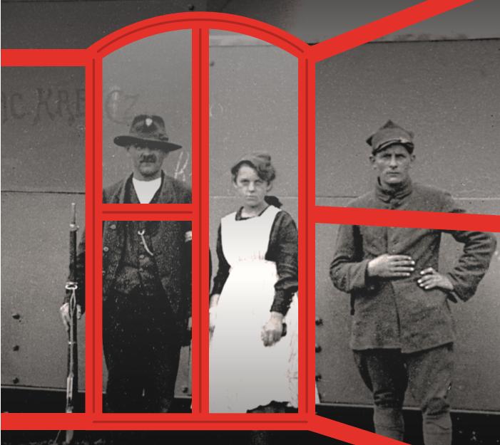 Na czarno-białym zdjęciu w centralnym punkcie kobieta, obok niej dwóch mężczyzn z okresu powstań. Postacie okala dorysowana czerwona rama okna.