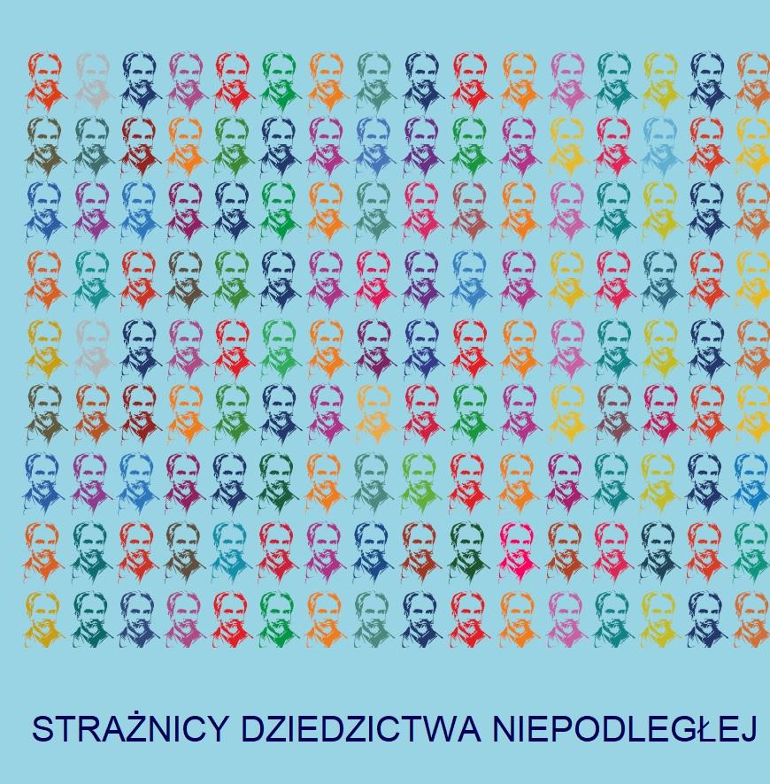 baner wydarzenia z tytułem i zwielokrotnionym portretem Żeromskiego w wielu kolorach