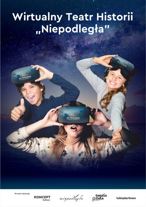 Grafika promująca projekt. Na tle rozgwieżdżonego nieba chłopiec i dwie dziewczyny w okularach do wirtualnej rzeczywistości. Nad nimi tytuł: Wirtualny Teatr Historii