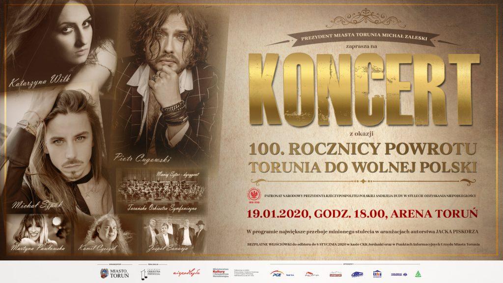 Koncert z okazji 100. rocznicy powrotu Torunia do wolnej Polski - plakat wydarzenia z informacjami o nim, zdjęciami artystów w sepii i paskiem logo