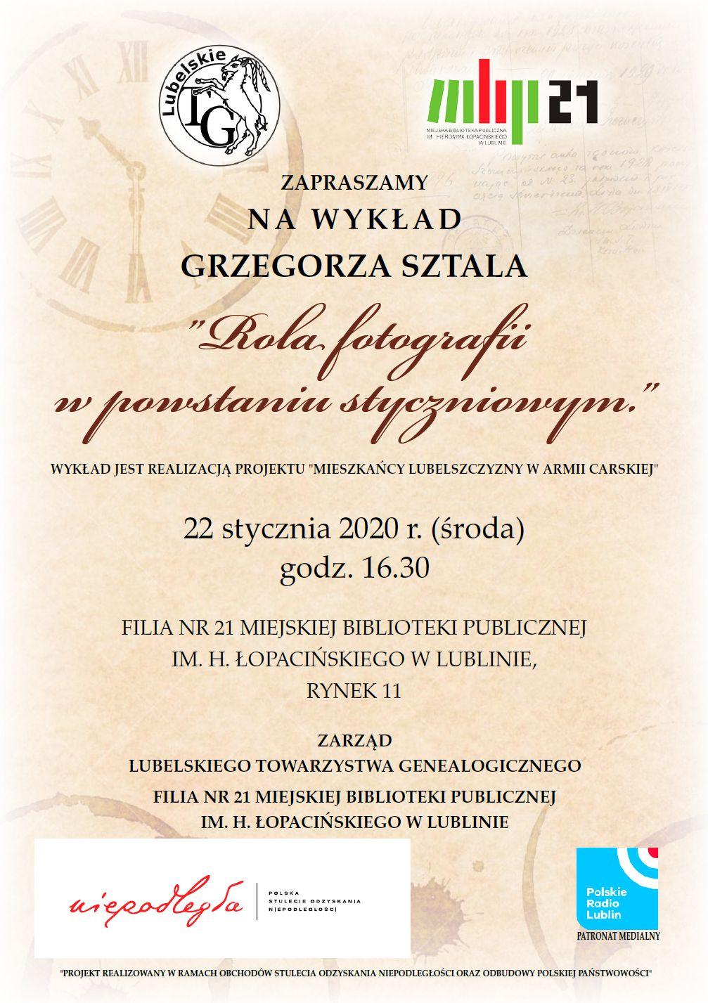 Plakat z zaproszeniem na styczniowe spotkanie Lubelskiego Towarzystwa Genealogicznego