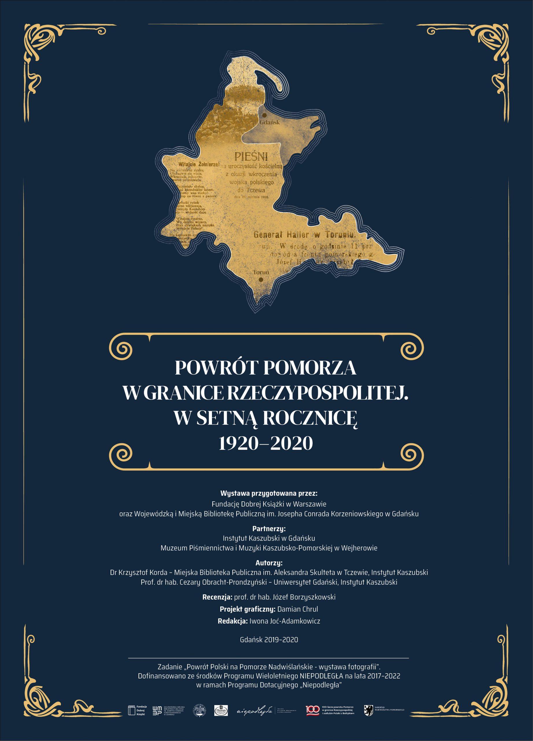 plansza tytułowa wystawy z zarysem mapy Pomorza oraz logo organizatorów