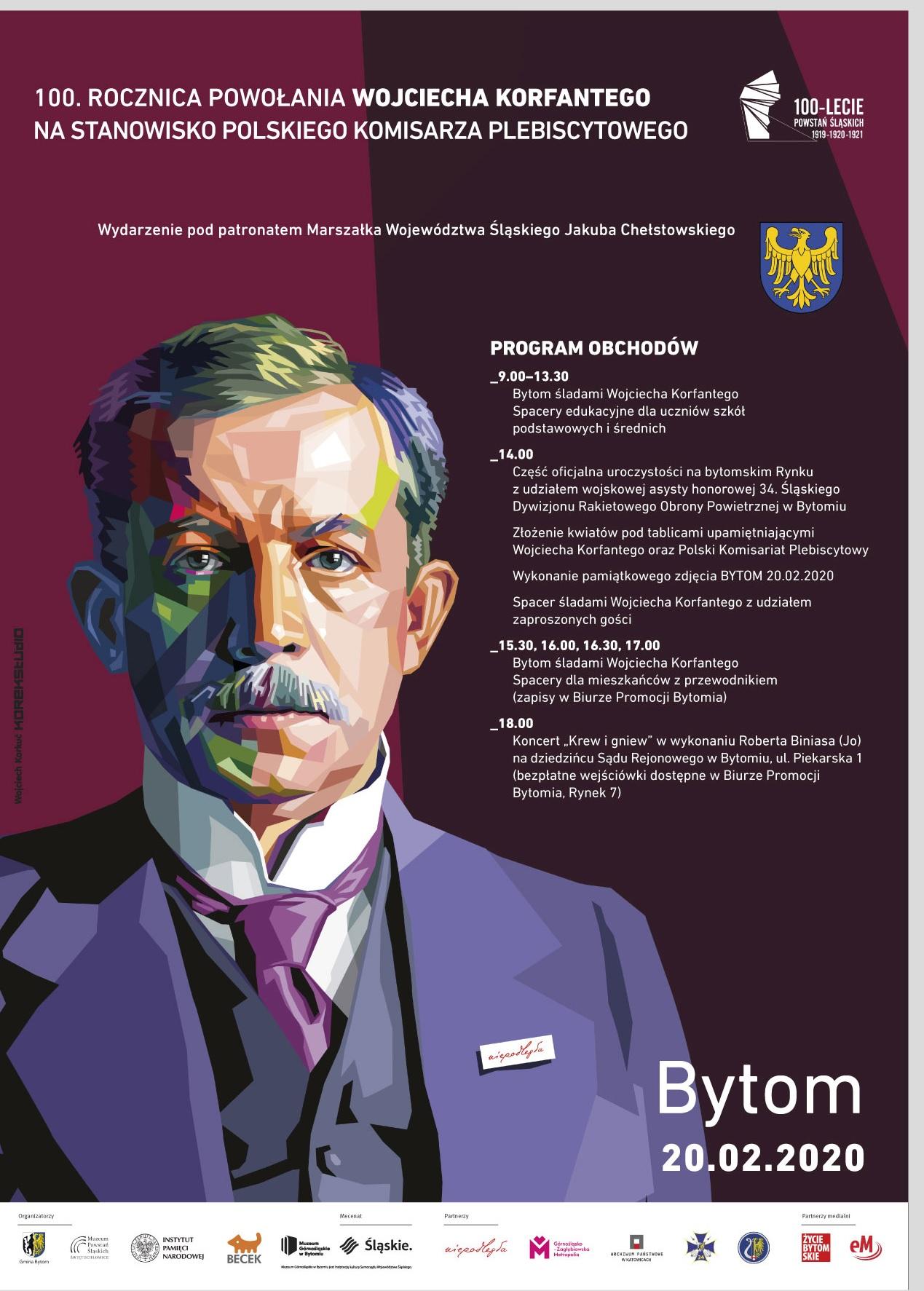 Plakat z programem obchodów 100. rocznicy powołania Wojciecha Korfantego na Polskiego Komisarza Plebiscytowego