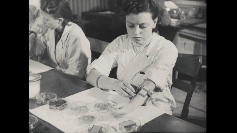 dwie kobiety przy stole, jedna coś mocuje w uprzęży na przedramieniu