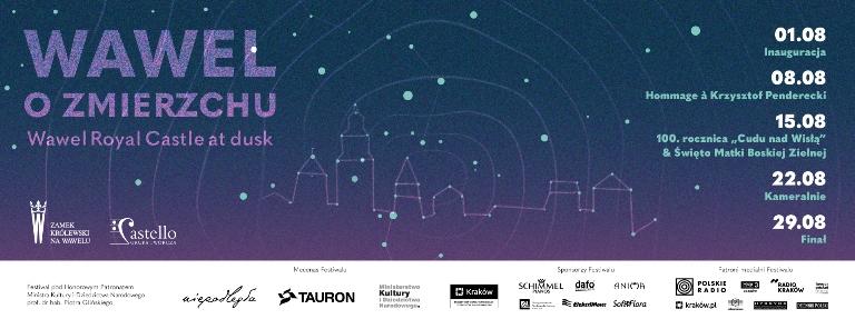 """plakat przedstawia program tegorocznej edycji festiwalu """"Wawel o zmierzchu"""""""