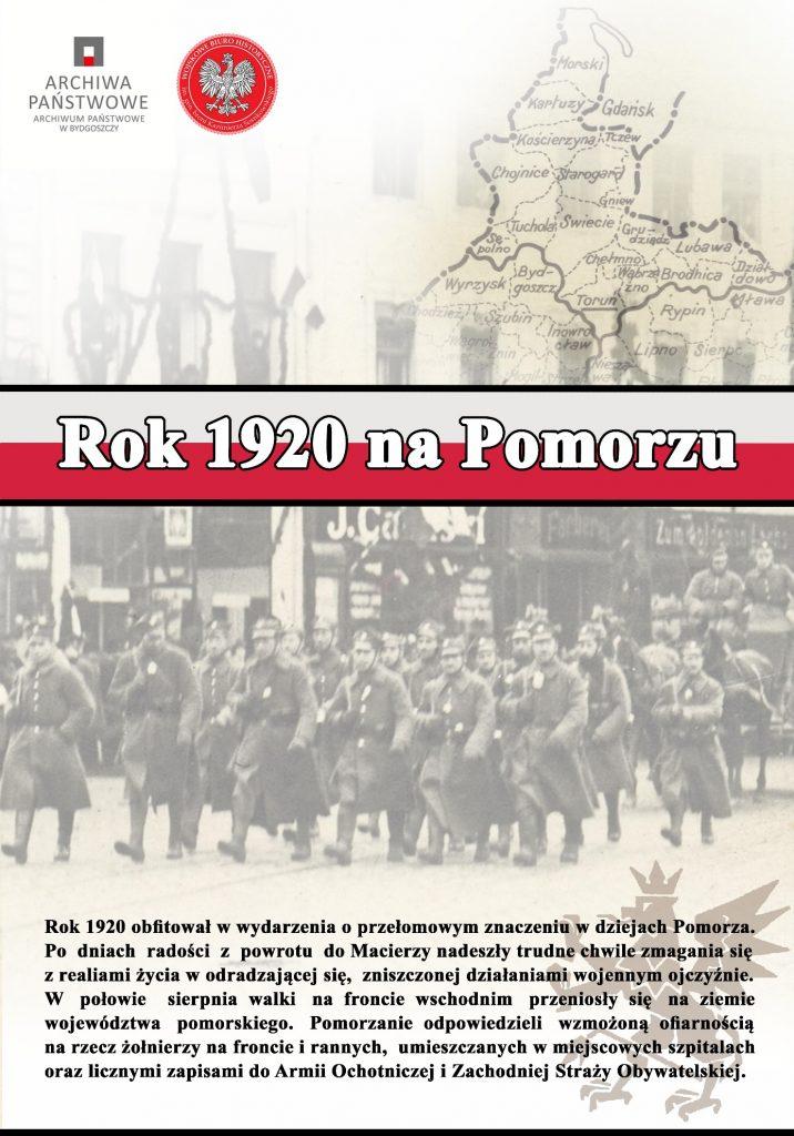 """zdjęcie przedstawia plakat informacyjny wystawy """"Rok 1920 na Pomorzu"""""""