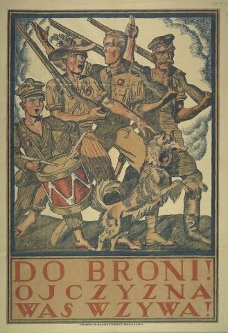 """ilustracja przedstawia plakat nawołujący do walki z napisem """"Do broni! Ojczyzna was wzywa!"""". Pochodzi z wystawy """"Wojna 1920 roku"""" w Archiwum Państwowym w Rzeszowie"""